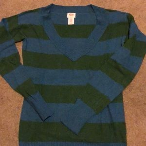 Blue and green striped sweater